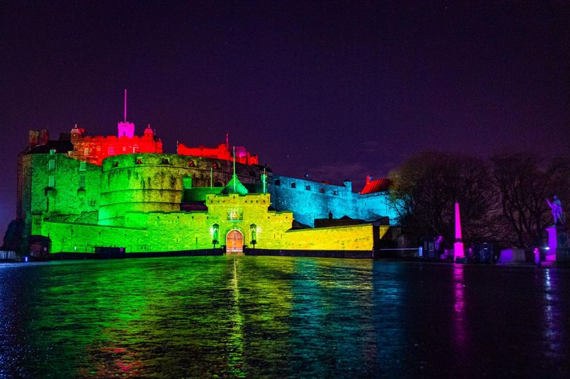 Edinburgh Castle lit up in rainbow colours to mark end of homosexual ban in armed forces